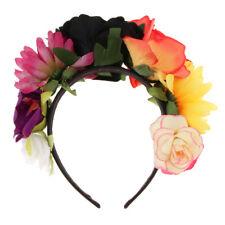 Gothic Big Flower Hair Wreath Garland Headband Mexican Sugar Skull Floral  Crown 408212f042e