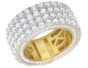 Image Is Loading Yellow Gold Finish Simulated Diamond 4 Row Eternity