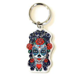 Butterfly-Eyes-Sugar-Skull-Metal-Key-Ring-Keyring-Sunny-Buick-Day-of-the-Dead