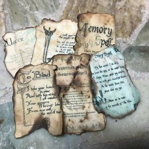 Aged INVOCATION POWER of THREE Spell Sheet Dollhouse Miniature Halloween Fairy