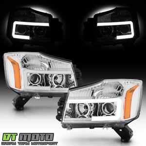 For 2014-2015 Titan 04-07 Armada Chrome LED Tube Projector Headlights Headlamps