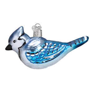 Old-World-Christmas-BRIGHT-BLUE-JAY-16121-X-Glass-Ornament-w-OWC-Box