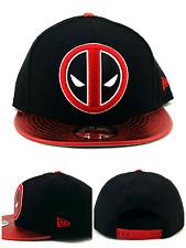 wholesale dealer bf478 15d1c Deadpool New Era 9fifty Shadow Marvel Comics Black Leather Red Snapback Hat  Cap