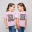 Filles Rose Coupe régulière Imprimé Léopard Lettre T-shirt initiale alphabet Court Imprimé