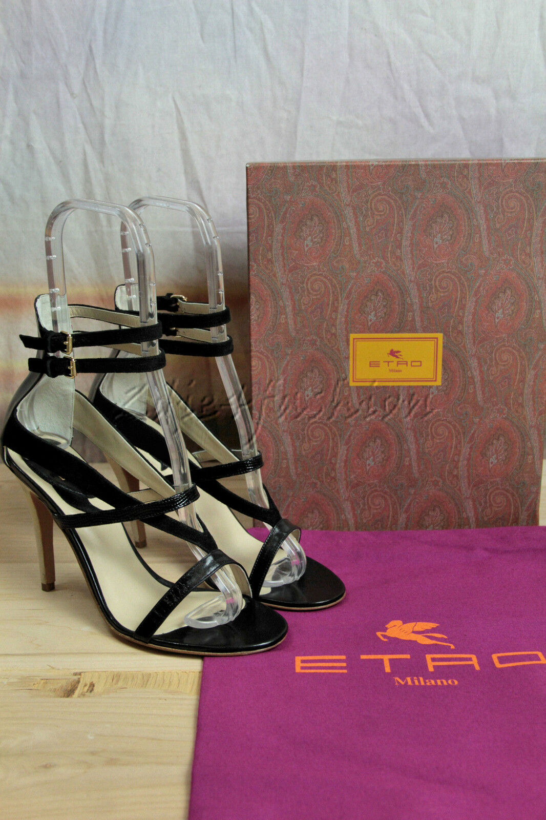 New in Box ETRO ETRO ETRO Black Suede Leather Strappy Heels shoes 38 8 506dd5