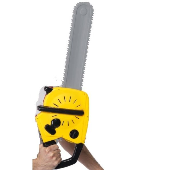 Boys Yellow Chain Saw With Sound Tree Surgeon Cutter Role Play Fancy Dress