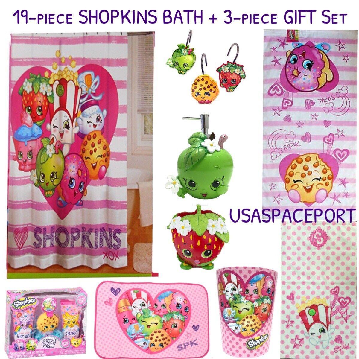 22 Pièces Shopkins complet Bain Set Rideau de douche + Crochets + Tapis + serviettes LOT + Cadeau Lot