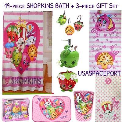"Free ship! Shopkins Fabric Shower Curtain Set w// 12 Hooks 72x72/"" Kid/'s Bath NEW"