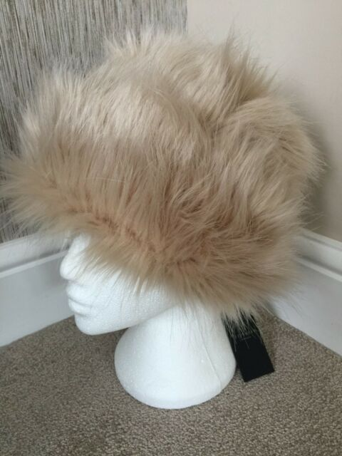 922a23f44d0 TED BAKER CREAM BEIGE FAUX FUR KARAH HAT WITH FLORAL LINING BNWT