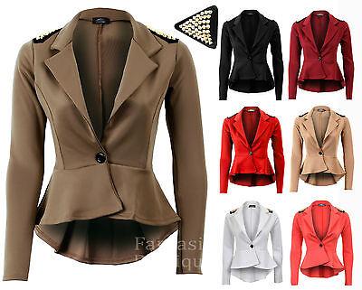 Ladies Studded Spike High Low Frills Shift Peplum Jacket Pleated Womens Blazer