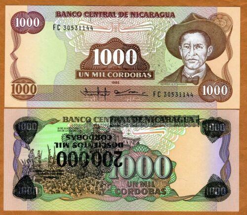 200,000 on 1000 Cordobas Nicaragua ND P-162 UNC/> Error 1 1990