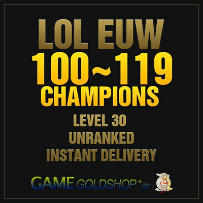 LOL Account League of Legends EUW 100+ Champions Level 30 Unranked Account