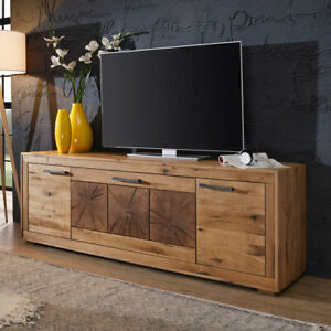 Tv Board Lowboard Tv Schrank Gaja 3 Wildeiche Massiv Natur Geölt Mit Hirnholz Ebay