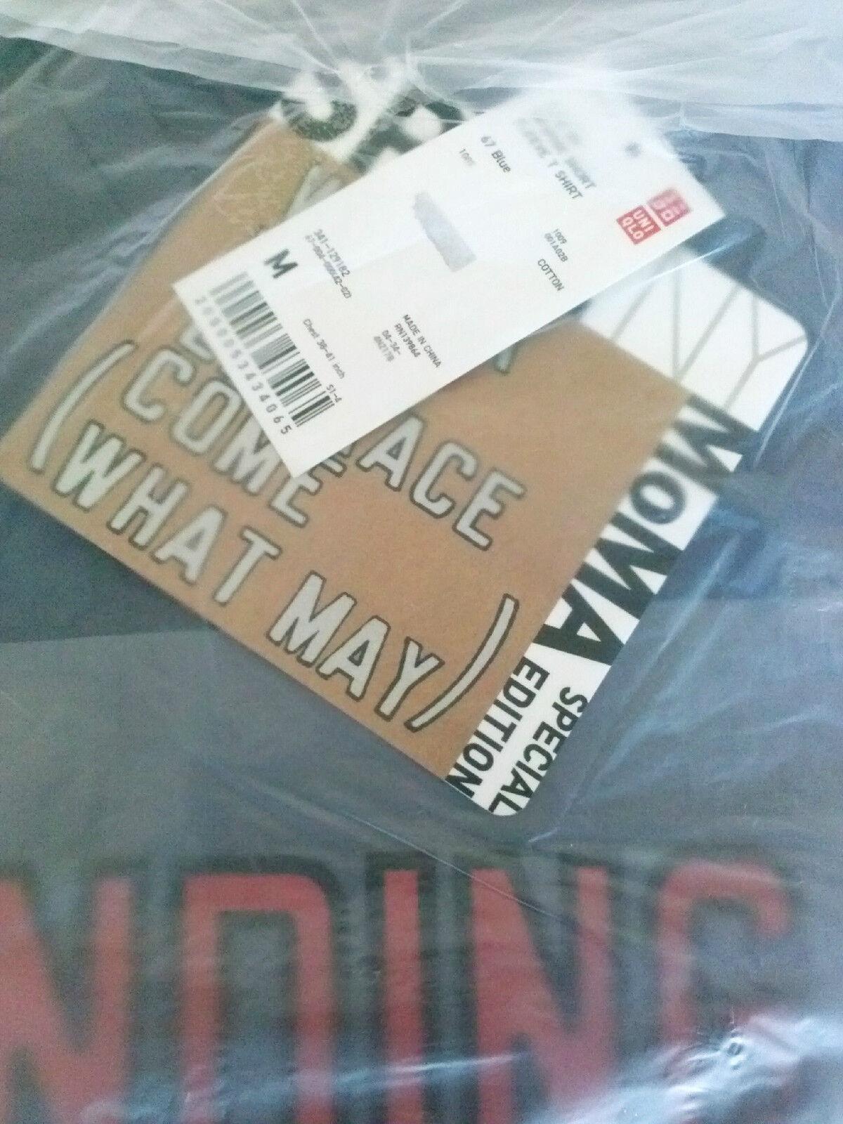 LAWRENCE WEINER x UNIQLO /'PENDING RESOLVE/' SPRZ NY Art T-Shirt MEDIUM Blue *NEW*