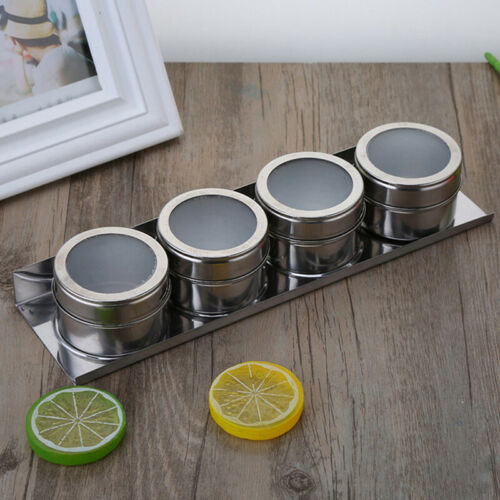 1PC Outdoor Spice Storage Container Jar Stainless Steel Tins With Clear Lid ZB