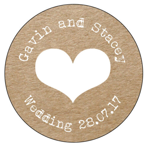 35 x HEART Personalised Wedding Shabby Brown Kraft Effect Favour Stickers  020