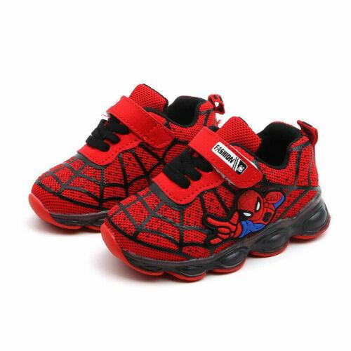 Enfants Enfants Garçons Filles Spiderman DEL Baskets Chaussures clignotant lumière Up Baskets