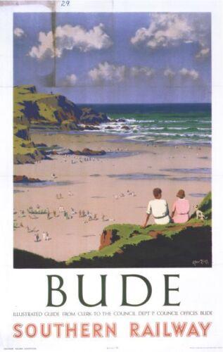 Vintage Southern Bude Devon Railway Poster A4//A3//A2//A1 Print