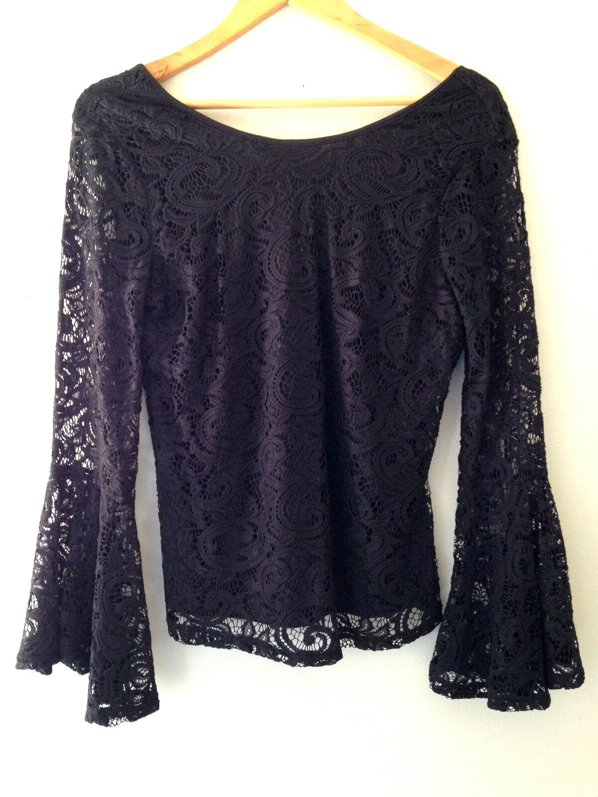 NWT Adrianna Papell Elegant schwarz Bell Sleeve Knit Lace Wide Neck Blouse Top M