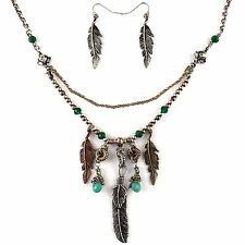 Bohemian Turquoise Emerald Metal Gold Silver Rose Gold Feather Pendants Necklace