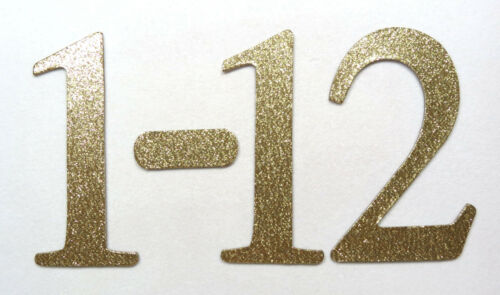 """1-20 1-15 4/"""" Gold Glitter Chipboard Wedding Table Numbers 1-12 1-30 stickers"""