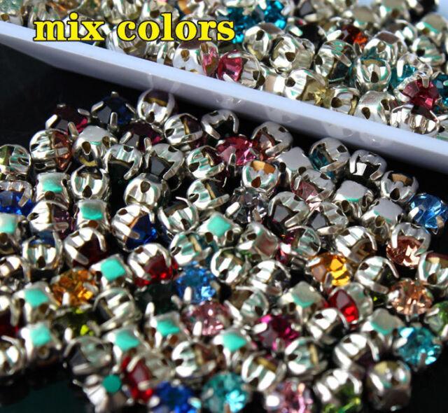 144 4-10mm mixed sew on claw Glass Rhinestone crystal jewels making Crafts pk sz