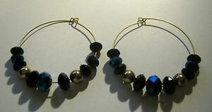 Earrings-without-fittings-for-craft-purposes-or-upcycling-blue-faceted-beads