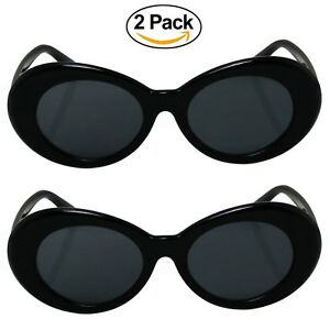 733f62a95ce89 2 Pack Bold Retro Oval Mod Thick Frame Sunglasses Clout Goggles with ...