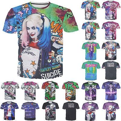 Womens/Mens Suicide Squad Harley quinn Joker 3D Print T-shirts Costume M-XXL