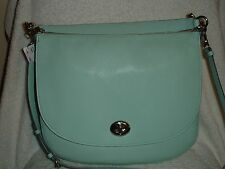 NWT CoachTurnlock Hobo Pebble Leather Shoulder Bag in Sivler/Seaglass