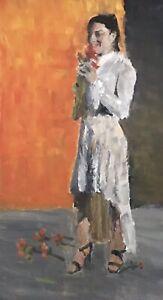 Vintage-Impressionist-Figure-Painting-Woman-Roses-Jeff-Barnes-Oil-Painting