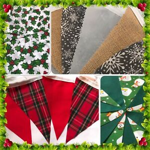 BUY-2-GET-3-CHRISTMAS-FABRIC-BUNTING-DECORATION-TARTAN-SNOWFLAKES-HESSIAN