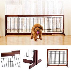 Free Standing Wood Pet Fence Barrier Dog Gate Adjustable Indoor ...