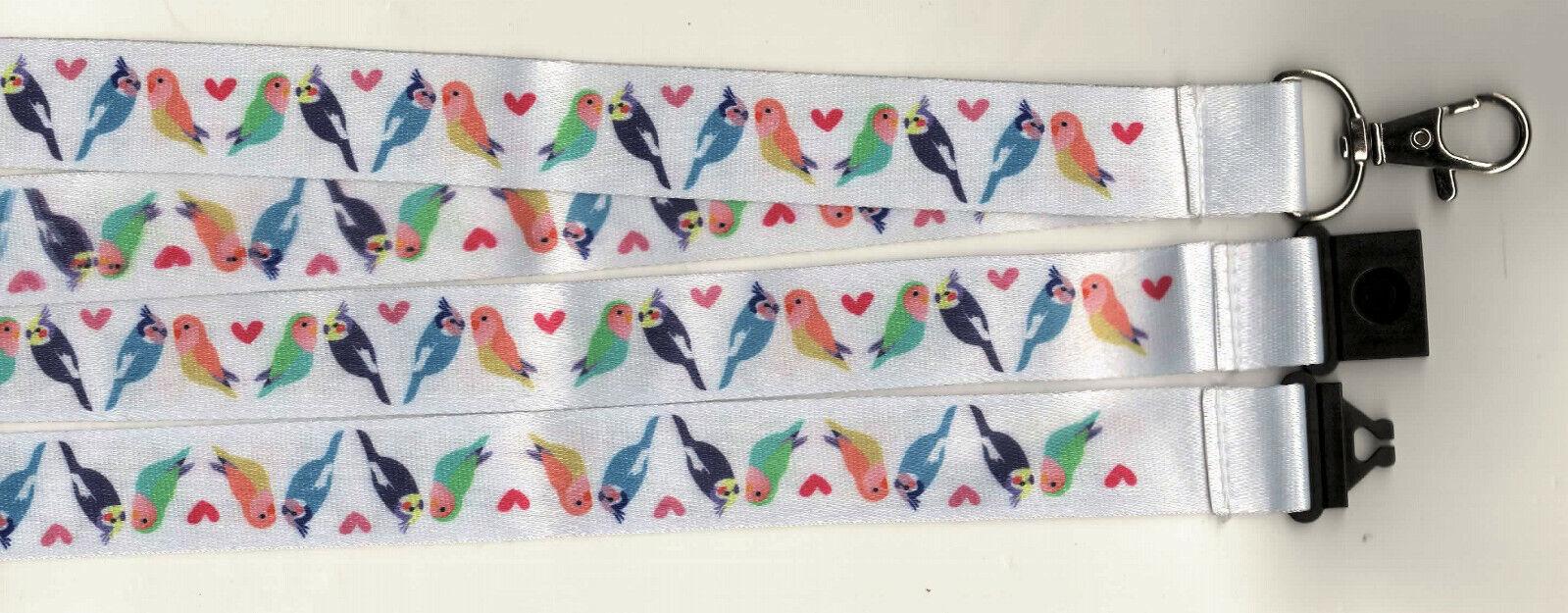 1 x Love Birds Budgies Cockateils Colourful Safety Breakaway Lanyard FREE UK P&P