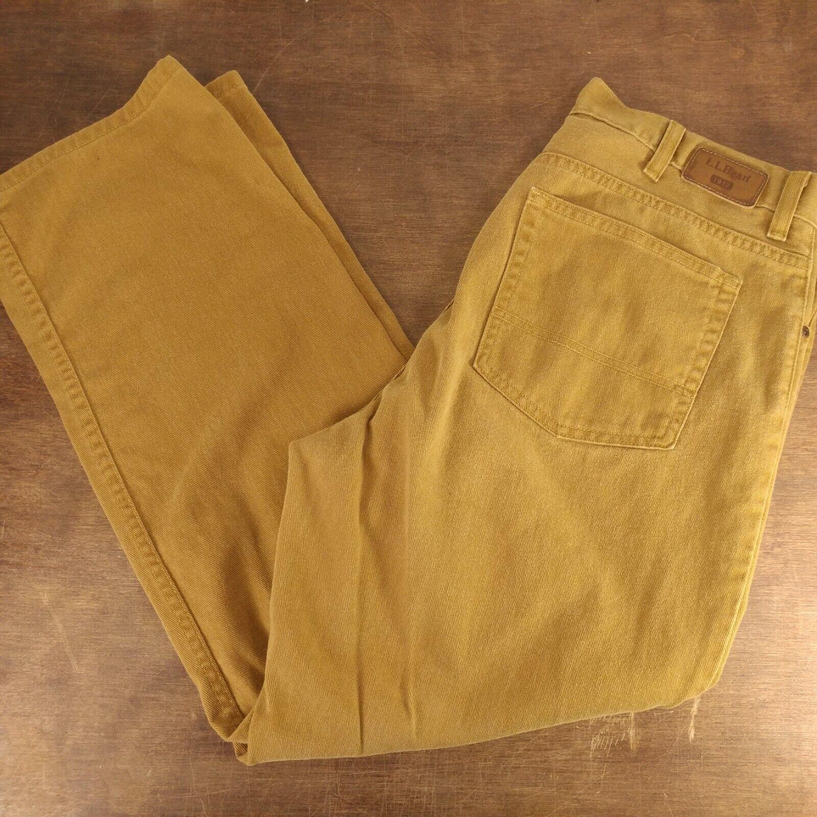 Mens LL Bean Brown Tan Jeans Standard Fit Pants 37x30