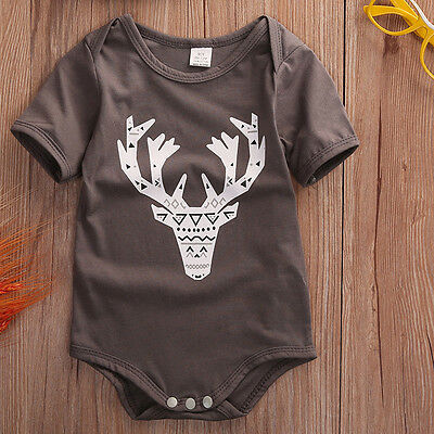Newborn Baby Boys Girls Cute Deer Romper Bodysuit Jumpsuit Pajamas Outfits 0-24M