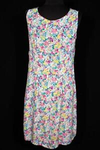 RARE-FRENCH-VINTAGE-1940-039-S-PASTEL-FLORAL-PRINT-SILKY-RAYON-DRESS-SIZE-10-12