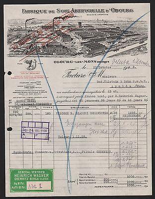 Schlussverkauf Obourg-lez-mons, Rechnung 1928, Fabrique De Soie Artificielle D'obourg Im Sommer KüHl Und Im Winter Warm