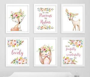 6 impresiones Ciervo Conejo Zorro Boho Vivero Cotizaciones Arte Floral Bebé Niña Regalo 602-A