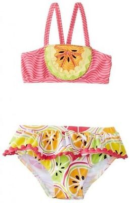NWT Mud Pie Baby Girls Size 0 6 9 Months Tutti Frutti Bikini 2-Pc Swimsuit NEW