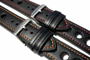 Black-Rally-smooth-leather-watch-strap-red-orange-stitch-20-22-and-24mm