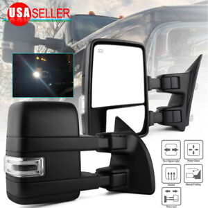 Fit for 03-07 Ford F250 F350 Tow Mirrors Power Heated LED Signals Spot Light Bar