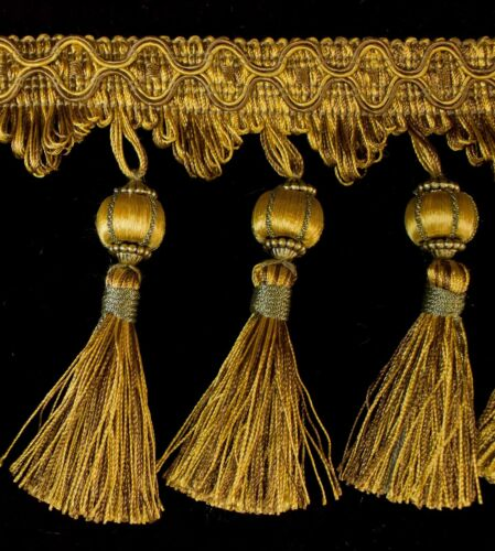 Antique Gold // Brown 5 Yards Beaded FRINGE Trim for DRAPERY and UPHOLSTERY in