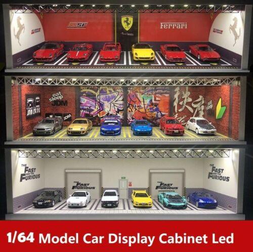 1:64 Model Car Display Cabinet Bright Scene Carport Led Light with USB interface