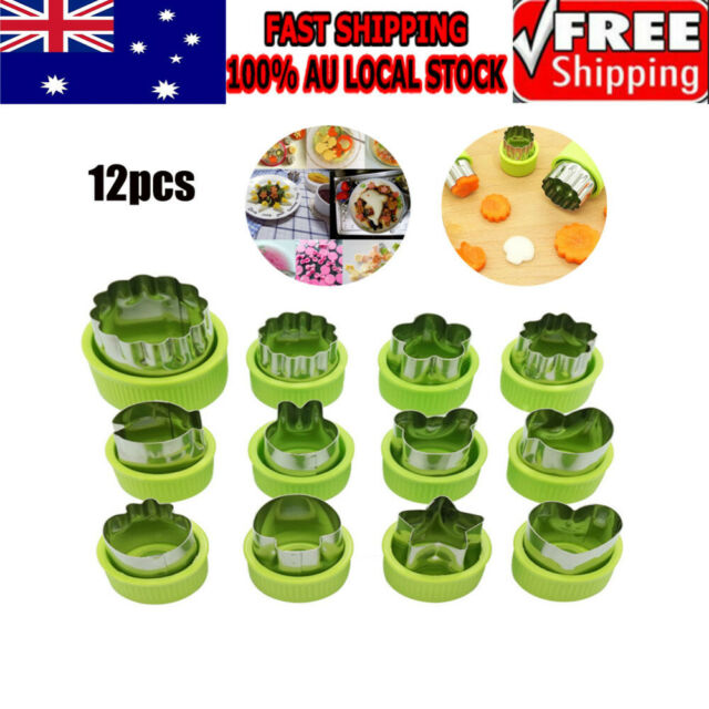Fruit Vegetable Mini Cookie Shape Cutter Set Kid Food 12X Stainless Steel Mold