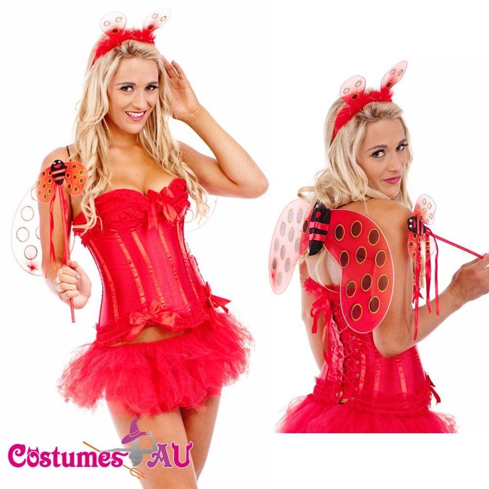 Ladies Red Lady Bug Ladybird Beetle Fancy Dress Halloween Party Costume Wings