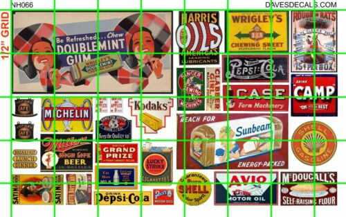 NH066 DAVE/'S 1//2 Set N SCALE MIXED MID CENTURY ADVERTISING SIGNAGE BILLBOARD