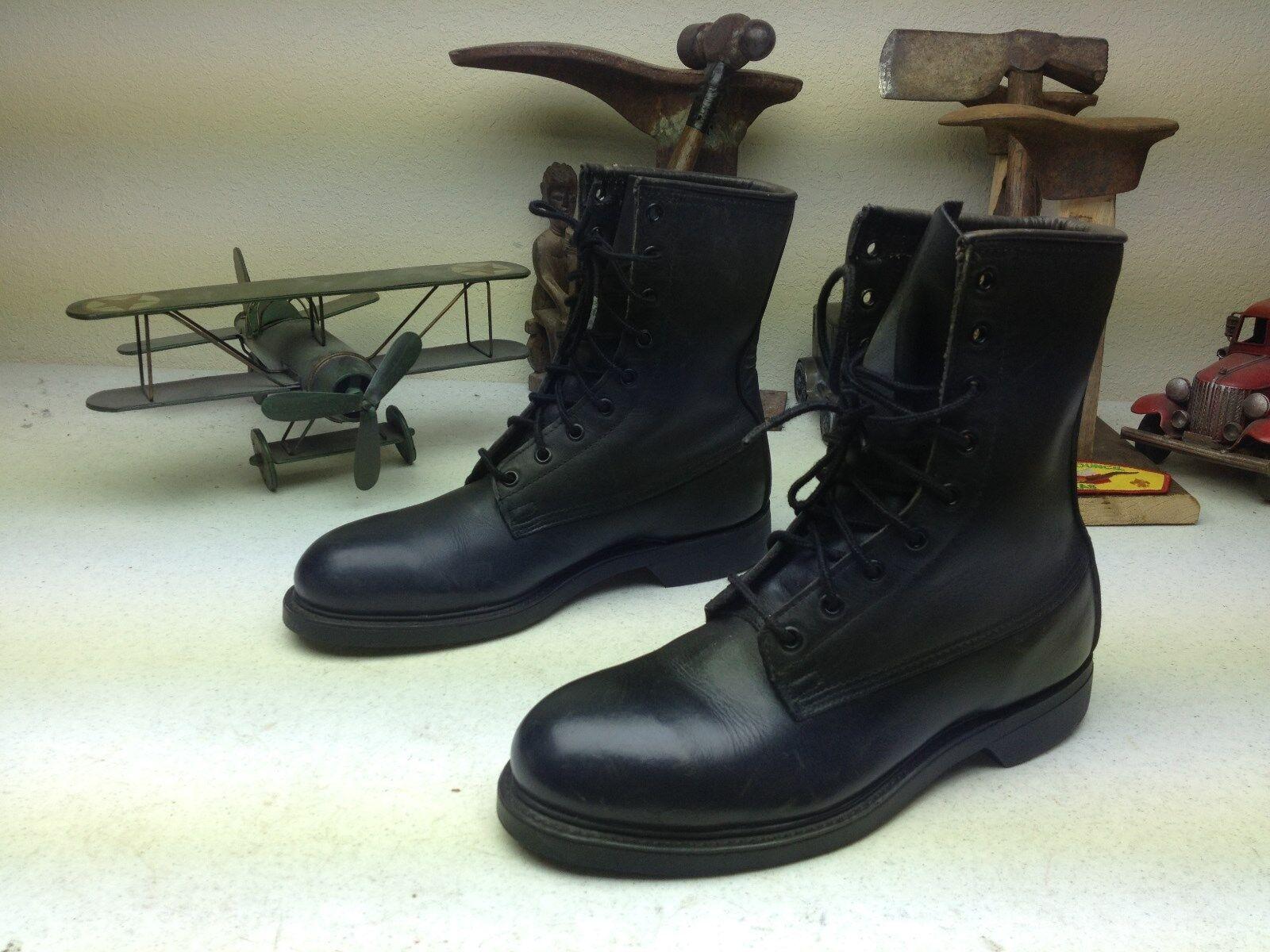Envejecido Negro Cuero Puntera De Acero Encaje hasta 1989 Vintage Paracaidista botas 6 W