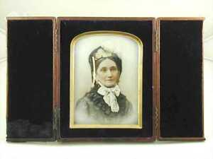 Signed-Miniature-Painted-on-Glass-of-Lady-super-period-detailing-C1880