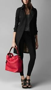 93eadfe188 Image is loading 1095-Burberry-Ashby-Medium-Red-Pebbled-Leather-Hobo-
